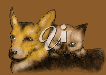 funny animals. cat and dog on brown background