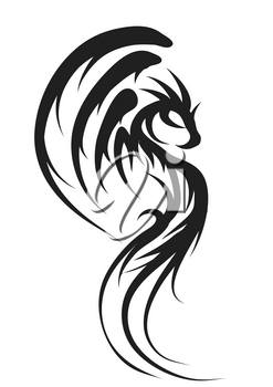 dragon silhouette isolated  on a white background