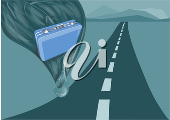 suitcase and road.  illustration of suitcase against blue background