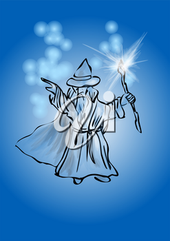 wizard on blue wizard waving his magic wand