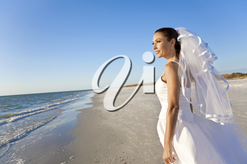 A married woman bride in her wedding dress in sunshine on a beautiful tropical beach