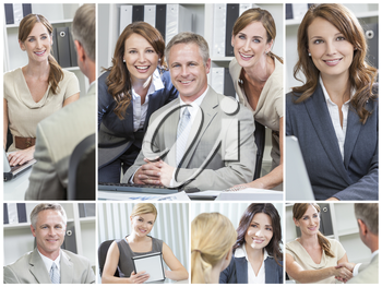 Montage of smiling happy businesswomen, businessmen, men and women in a meeting, on computer and tablet computer and shaking hands in an office