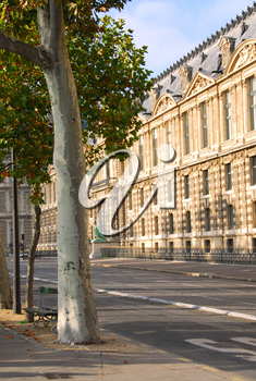 Street outside of Louvre museum in Paris, France