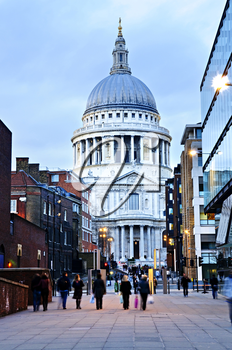 View of St. Paul's Cathedral in London from street at dusk