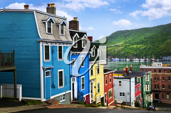 Street with colorful houses near ocean in St. John's, Newfoundland, Canada