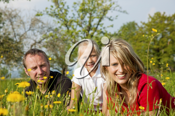 Happy family sitting in a meadow full of dandelions in spring (selective focus on girl)