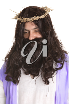 man dressed as Jesus.  And the soldiers plaited a crown of thorns, and put it on his head, and they put on him a purple robe, And said, Hail, King of the Jews!...  In the bible, thorns and thistles r