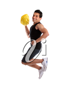 A male construction worker, builder or other tradesman jumping into the air.  White background.