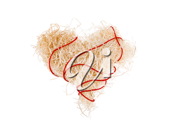 Image of heart shape made up of dry straw on white background