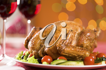 Image of roasted turkey on Christmas dinnertable