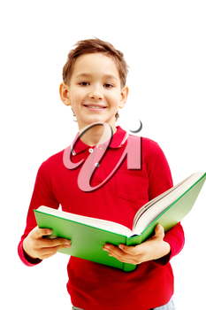 Image of cheerful little boy holding the textbook