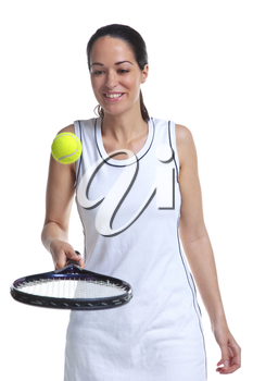 A woman tennis player bouncing the ball on the racket, isolated on a white background.