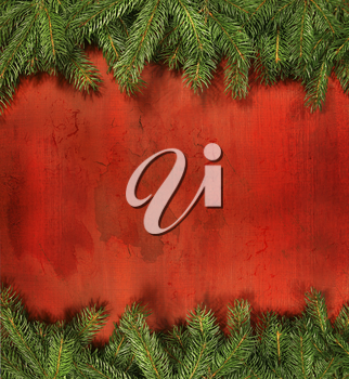 Royalty Free Photo of a Pine and Rustic Red Wood Background