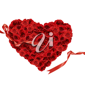 Red roses in the shape of heart on white background