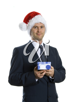 Santa man in blue suit giving gift box