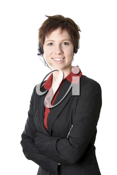 cute girl customer service rep on white background