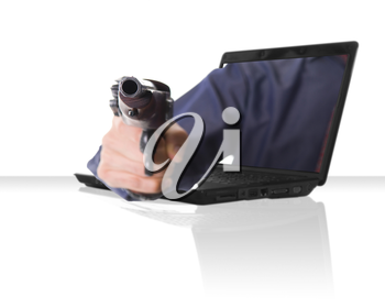 a black laptop computer with a hand and gun
