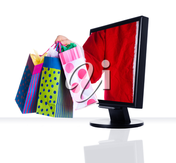 a computer flat screen monitor in black with santa