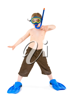 Happy 6 years old child (boy) posing in  scuba diving and mask, ready for summer vacation. Isolated on white.