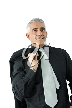 Portrait of creative looking mature businessman, smiling, isolated on white background.