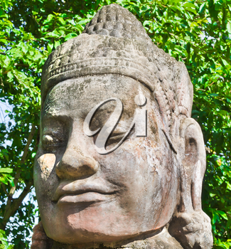 Stone face in Angkor Wat Area, near Siem Reap, Cambodia, Southeast Asia