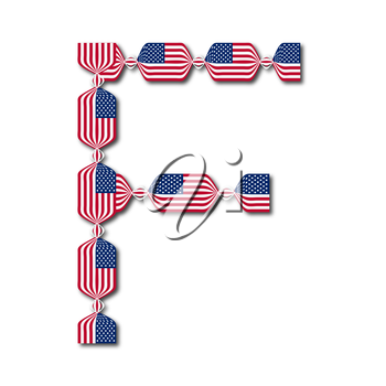 Letter F made of USA flags in form of candies on white background