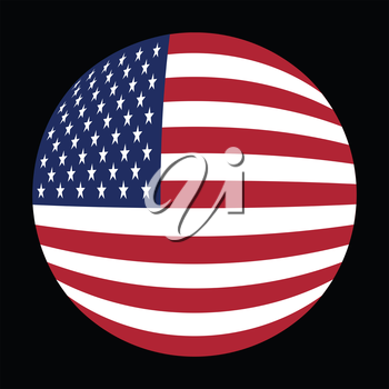 Flag of the United States in globe form on black background