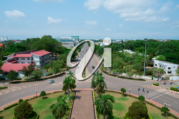 Aerial view of Vientiane from Patuxai Monument, Laos, Southeast Asia