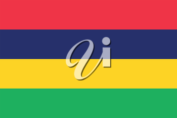 Flag of Mauritius in correct size, proportions and colors. Accurate dimensions. Mauritian national flag. Vector illustration