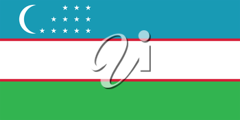Flag of Uzbekistan in correct size, proportions and colors. Accurate official standard dimensions. Uzbek national flag. Patriotic symbol, banner, element, background. Vector illustration