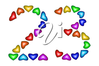 Number 23 of colorful hearts on white. Symbol for happy birthday, event, invitation, greeting card, award, ceremony. Holiday anniversary sign. Multicolored icon. Twenty three in rainbow colors.