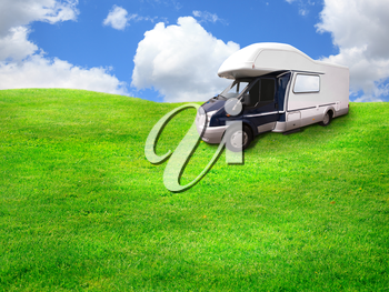 summer travel concept, focus point on the car