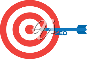 Vector red bullseye and blue dart with text seo is in the center.