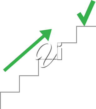 Vector grey line stairs with arrow pointing up and check mark on top.