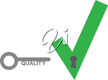 Vector green check mark  with quality key.