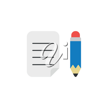Flat design style vector illustration concept of written paper with blue pencil symbol icon on white background.