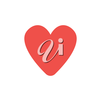 Flat design style vector illustration of red heart symbol icon on white background.