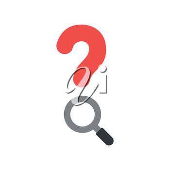 Vector illustration concept of red question mark with grey and black magnifying glass icon on white background with flat design style.