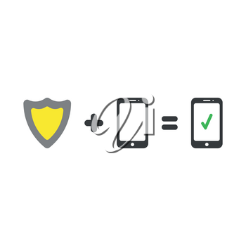 Vector illustration security concept of green and yellow shield guard plus black smartphone equals smart phone with green check mark icons on white background with flat design style.