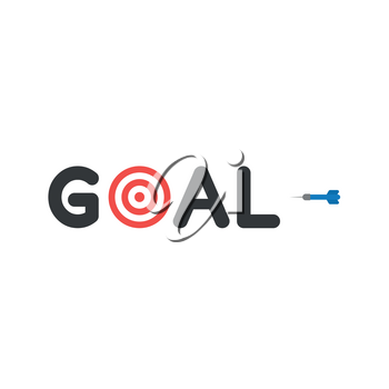Flat design style vector illustration concept of black goal text with red and white bulls eye and blue dart symbol icon on white background.