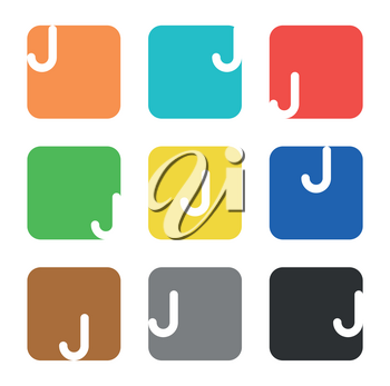 Vector logo element. The letter J is in a square shape with rounded edges and different colors.