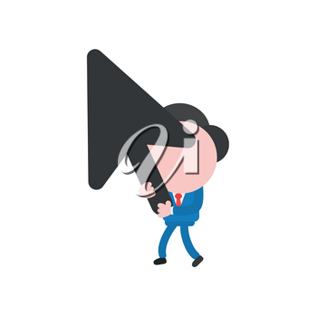 Vector illustration of businessman character walking and holding black computer mouse cursor arrow icon.