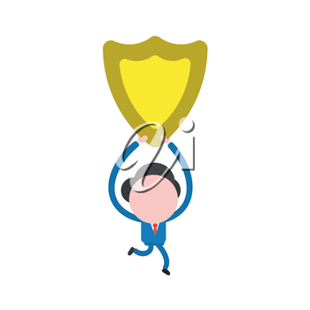 Vector illustration of businessman character running and holding up yellow shield guard icon.