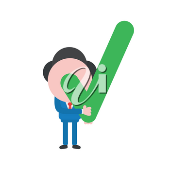 Vector illustration concept of businessman character holding green check mark icon.