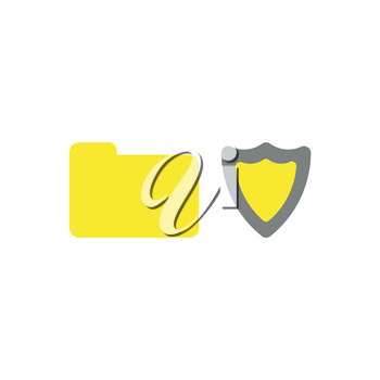 Flat design vector illustration concept of yellow closed folder with grey and yellow shield guard  symbol icon on white background.