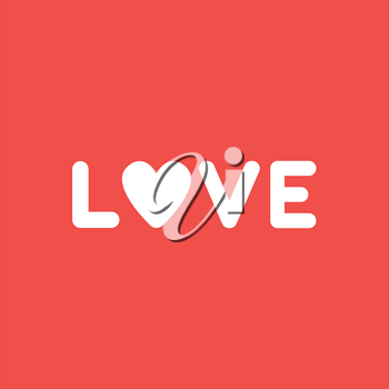 Flat vector icon concept of love word with heart on red background.