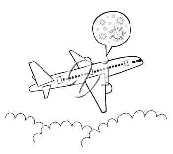 Hand drawn vector illustration of Wuhan corona virus, covid-19. Travel by plane and travel of infected patients. White background and black outlines.