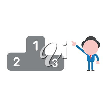 Vector illustration of faceless businessman character pointing first place of winners podium.