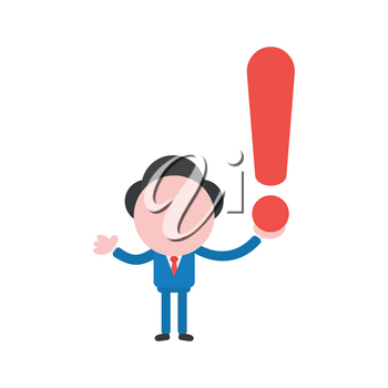Vector illustration businessman mascot character holding exclamation mark.