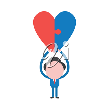 Vector illustration businessman mascot character holding up two connected jigsaw puzzle heart.
